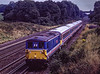"""73109 """"Battle of Britain"""" at Totters Lane, Potbridge, with 442407, <br /> ECS to Bournemouth T&RSMD, on 7th August 1992. Scanned Transparency."""