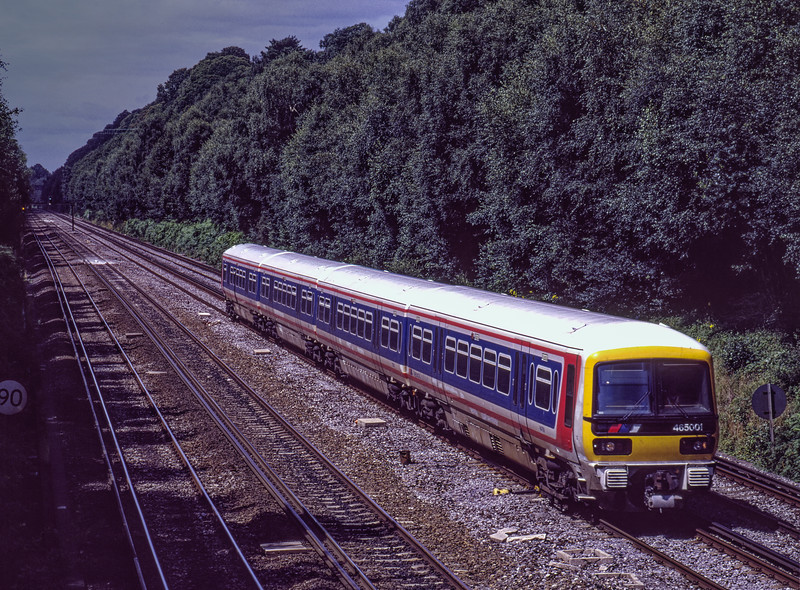 465001 on a test run at Deepcut, on 28th July 1992. Scanned Transparency.