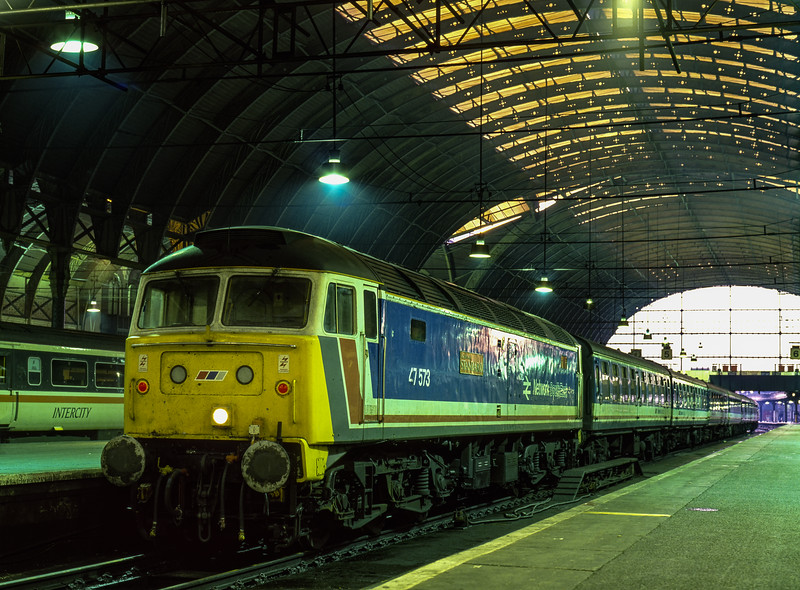 """47573 """"The London Standard"""" on the blocks at Paddington, on 8th June 1990. <br /> Scanned Transparency."""