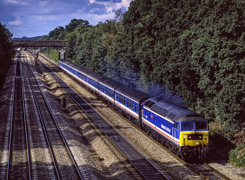 """47576 """"King's Lynn"""" at Southbury Lane, Ruscombe with 1F45, the 10:00 Oxford - Paddington, on 1st September 1990. Scanned Transparency."""