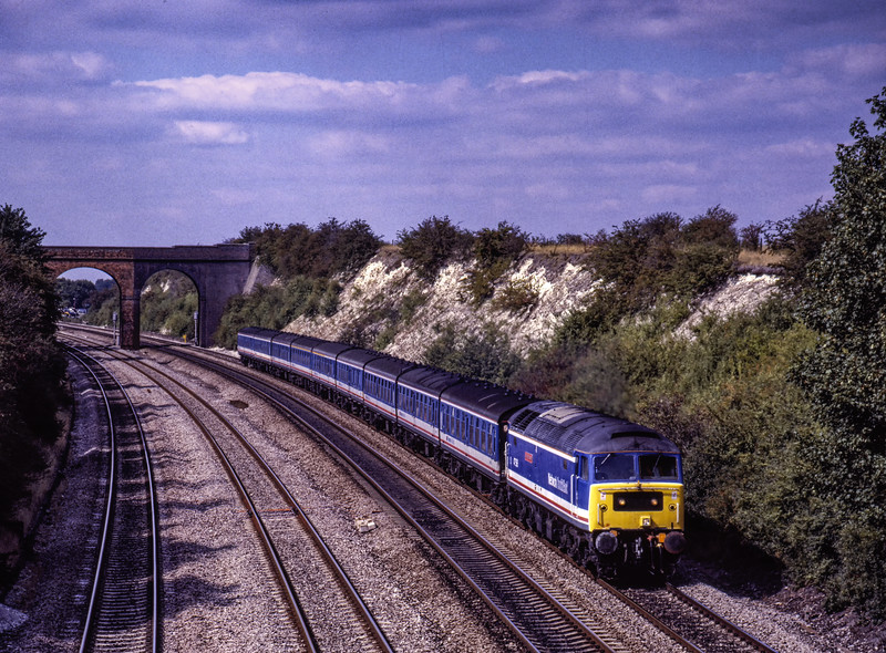 """47596 """"Aldeburgh Festival"""" at Reading Road, Cholsey with the 14:00 Oxford - Paddington, <br /> on 8th September 1990. Scanned Transparency."""