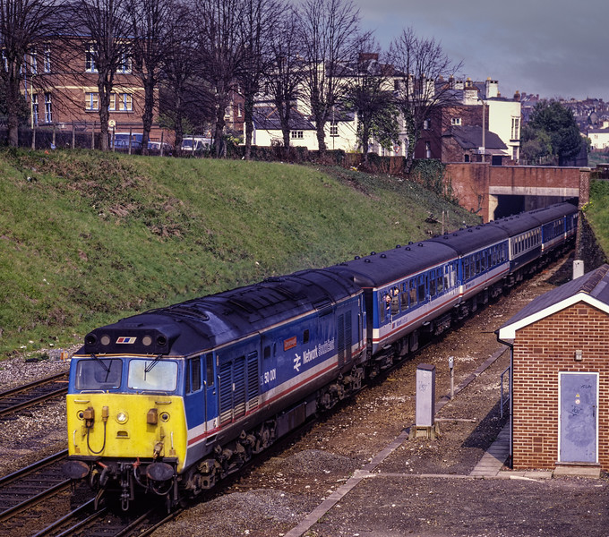 """50001 """"Dreadnought"""" arrives at Exeter Central with 1V12, <br /> the 12:03 Portsmouth Harbour - Paignton, on 8th April 1988. Scanned Transparency."""