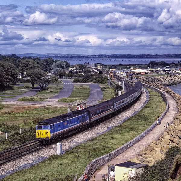 """50005 """"Collingwood"""" at Dawlish Warren with 1V43, <br /> the 08:35 Liverpool Lime Street - Penzance, on 3rd September 1988. Scanned Transparency."""