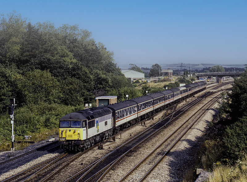 """56034 at Didcot, Foxhall Junction with the 14:45 Paddington - Paddington, <br /> via Didcot Power Station, on 18th August 1991. This was the """"Didcot Lupin"""" organised by Hertfordshire Railtours. Scanned Transparency."""