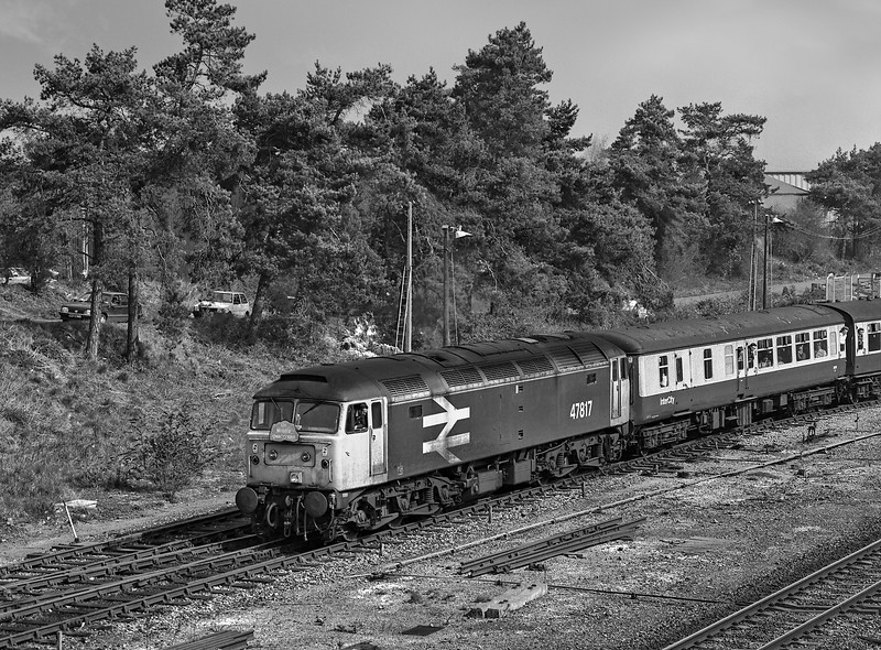 """47817 heading onto the branch to Ludgershall with 1Z37, the 06:21 Manchester - Whatley Quarry and Merehead Quarry, on 31st March 1990. This was the """"Mendip Quarryman"""" organised by Pathfinder Tours.Scannned Negative."""