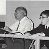 1965 Jr High Basketball Tournament - Chambless and Shearer (from yearbook)<br /> <br /> The Berrien Press, front page, March 4, 1965<br /> Photo caption:<br /> WATCH 'EM – Keeping a close watch on the action on the basketball games at Berrien High School gym since its construction and earlier at the Alapaha gym has been Winfred Chambless of Alapaha, official timekeeper for the games.  Through all these years, he has been keeping time as a contribution of his services to the school.  Lee Shearer, also of Alapaha, was caught by the camera as he followed the action for his reports given in The Berrien Press.<br /> [Compiler's note:  The photo above was scanned from the BHS yearbook.  The same photo appeared in the newspaper article.]