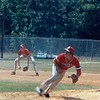 1987 BHS baseball - Jason Hamil prepares to field a ball while Rusty Harrelson backs up at 3rd base.