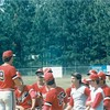 1987 BHS baseball - Coach Bart Shuman addresses the team in Region 2-AA playoffs at Camden County.