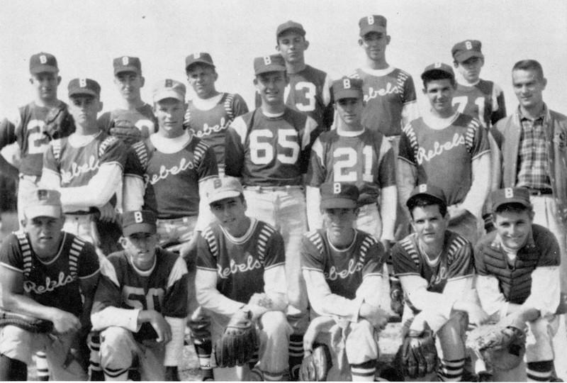 1961 BHS Baseball Team<br /> (photo from yearbook scan - ORIGINAL PHOTO NEEDED)<br /> <br /> Front row (L-R):  Ralph Bradham, Jamie Chapman, Earl Wayne Rowan, Albert Wheeler, Carl Stone, Jimmy Harper.<br /> 2nd row:  Frank McLendon, Donnie Williams, Wayne Slaughter, Johnny Moore, Kenneth Wheeler, Coach Harris.<br /> Back row:  Mike Lee, Steve Grissett, Lamar Webb, Charles Hughes, Charles Hadsock, and James Boyd, manager.