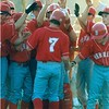 Brett McMillan homerun - March 2000<br /> <br /> <br /> The Berrien Press, page __, March __, 2000<br /> Photo caption:<br /> HOMERUN!! – Brett McMillan (#7) gets a high-five from his teammates after hitting a massive two-run homer in the first inning of the BHS Rebels vs. Clinch County game last week.  Brett hit another homerun in his next at-bat.  Berrien won 8-4 with Matt Spires as the winning pitcher and Chase Caffey getting the save. – Photo and information by Gene Shearl, photographer