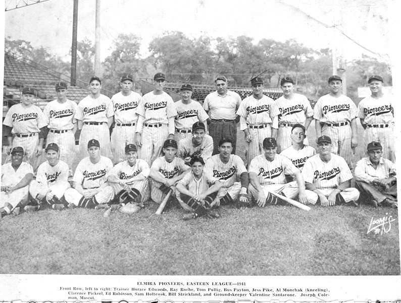 Elmira Pioneers, minor league team. Bill Strickland, front row 2nd from the right.