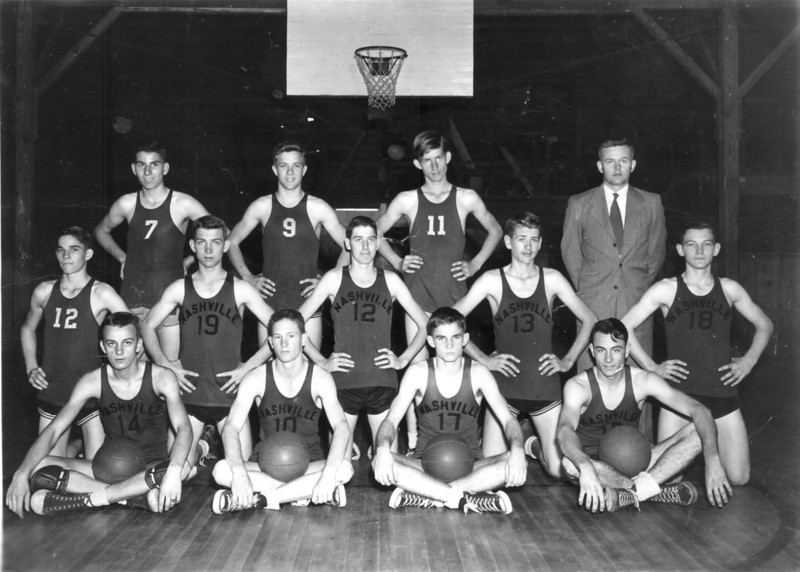 "Nashville High Schoool, 1949-50 boys basketball team coached by W. H. ""Bill"" Dollar. Front row, L-R: Wesley Griffin, Roy Devane, Jerry Ward and Lamar Griffin; 2nd row: Fred Ward, Paul Griner, Donald Wilson, Bobby Griffin and Haywood Futch; back row: James Drawdy, Bayne Garrett, Horace Barker, and Coach Dollar. Courtesy of Heywood Futch"
