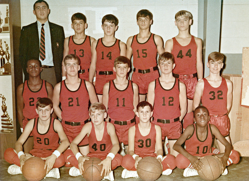 1968-69 Nashville Elementary School boys basketball team<br /> The Berrien Press, front page, December 12, 1968<br /> Photo caption:<br /> NASHVILLE HORNETS – The 1968 edition of the Nashville Elementary School boys' basketball team, left to right, is composed of:  Front, Tony Slaughter, Darrell Barber, Phil Jones, Leon Bass; second row, Wesley J(ack)son, Mitchell Moore, Pat Luke, Gerald Fender, Dale Nash; back row, coach Don Bridges, Robert Griner, Bobby Moore, Lewis Hancock, Mark Flowers.<br /> <br /> (The black and white version of this photo is slightly different and is the version that was published.)