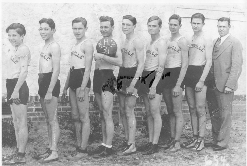 1931 Nashville High boys basketball team<br /> <br /> (L-R):  Pug Dickson, Morris Levin, Buck Carlton, Garth Webb, Olin Watson, Robert Griner, Ralph Shaw, Pig Futch, and Coach W.B. Gaines.<br /> <br /> (An undamaged version of this photo was reprinted in the Down Memory Lane column of The Berrien Press on March 27, 1969.)
