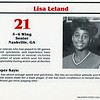 Lisa Leland's entry in the 1986-87 Valdosta State College Lady Blazer Basketball media guide