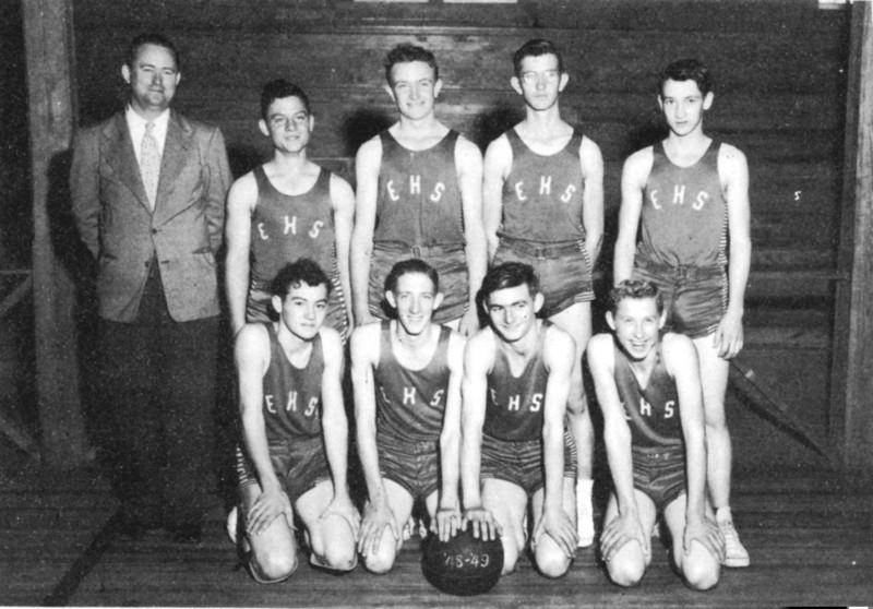 Enigma Boys' Basketball Team, 1948-1949. Coach: W. H. Outlaw<br /> Front Row: Donald Henderson, J. C. Chambers, Paul Abell, Ray Stewart<br /> Back Row: Gene Winn, Laverne Little, Ivory Troup, D. L. Taylor