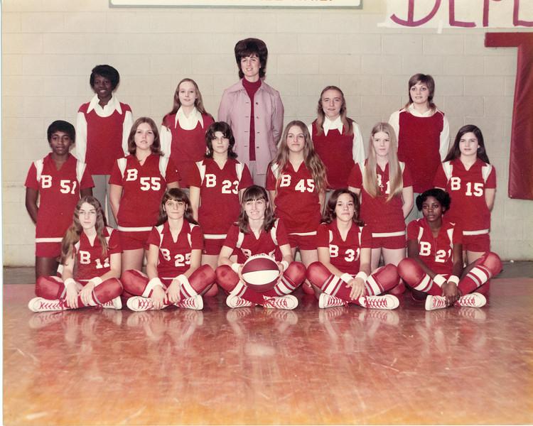 1973 Berrien High School Girls Basketball Team<br /> Front row, left to right:  Vickie Durrance, Debra Franklin, Debbie Harrell, Regina Harper, Debra Smith<br /> Middle row, left to right:  Vera Wright, Carolyn Futch, Karen Folsom, Sharon Barry, Sheryl Nash, Dee Dorsey<br /> Back row, left to right:  Oletha Mathis, Alice Croft, Coach Dona Fields, Sharon Schroeder, Vickie Roberson