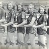 1947-48 Nashville High School Girls Basketball Team<br /> L.L. Gaskins - coach<br /> Pictured (L-R):  Wynelle Connell (co-captain, guard, All-Tournament player), Carolyn Peters (forward, captain), Lawanna Shaw (forward), Libby Peters (guard), Evelyn Hall (forward), Juanelle Nix (guard).