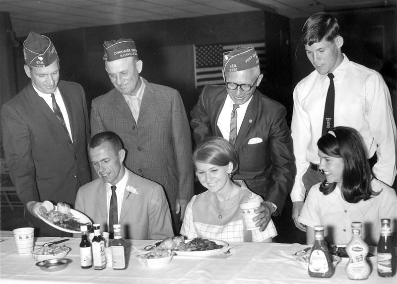 BHS Basketball 1968 Dinner, VFW, with Coach Stanley Simpson, Peggy Heath, Judy McKinnon, and Raymond Tucker