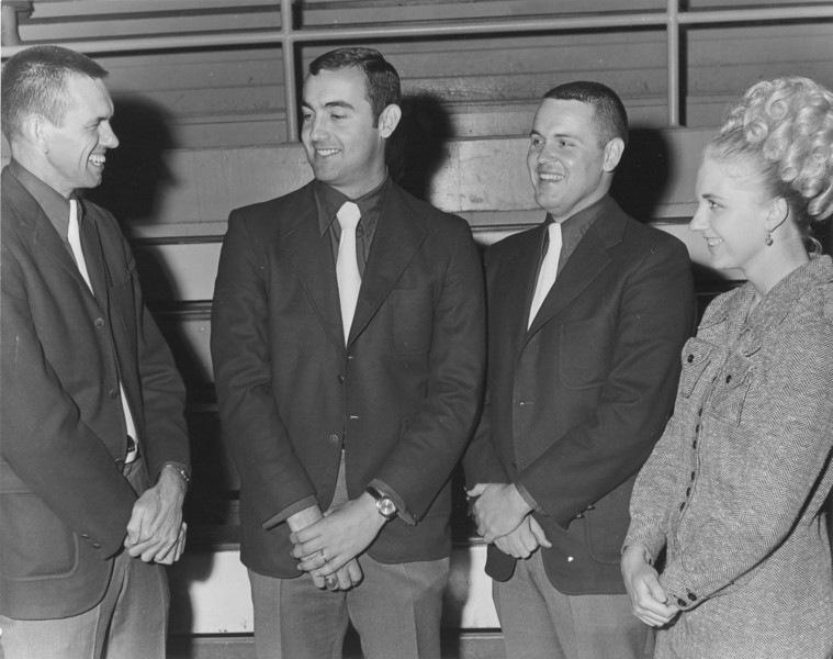 1971 April Stanley Simpson Appreciation Night with coaches. Stanley Simpson, Larry Slaughter, Wayne Harris, and Peggy Heath.