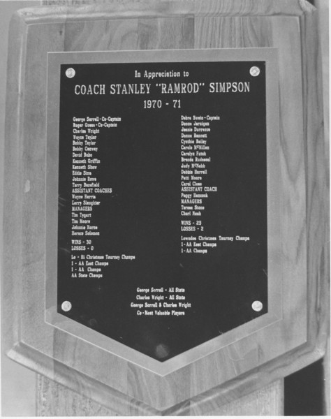 1970-71 basketball teams plaque