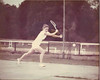Peggy Barber Tucker playing tennis on BHS Courts<br /> <br /> (photo courtesy Peggy Barber Tucker)