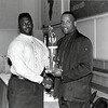 Andre Newsome (left) receiving award at Langston University<br /> <br /> photo courtesy of Langston University