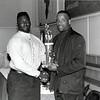 Andre Newsome (left) receiving award at Langston University<br /> <br /> photo courtesy of Langston University