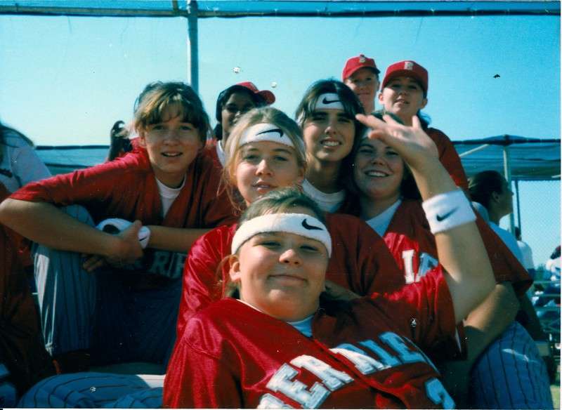 BHS softball candid - 1990s<br /> (specific year needed)<br /> <br /> photo shared by Mellisa Watson Brown