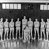 "BHS Boys Basketball Team 1962-63<br /> Pete Griffin, center; L-R: Gilbert Sewell, #12  , David Cornelius,  #40      , #24, R. E, ""Tree"" Outlaw, S. G. Solomon, #44, #22, #14, Wayne Fagler."