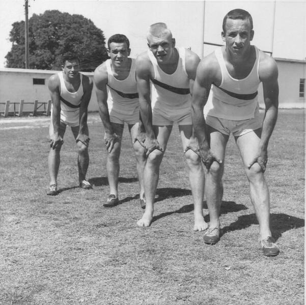 BHS Track  relay team, circa 1960-61. L-R: David Connor, Butch Alexander, Johnny Akins, Ashley Sewell.