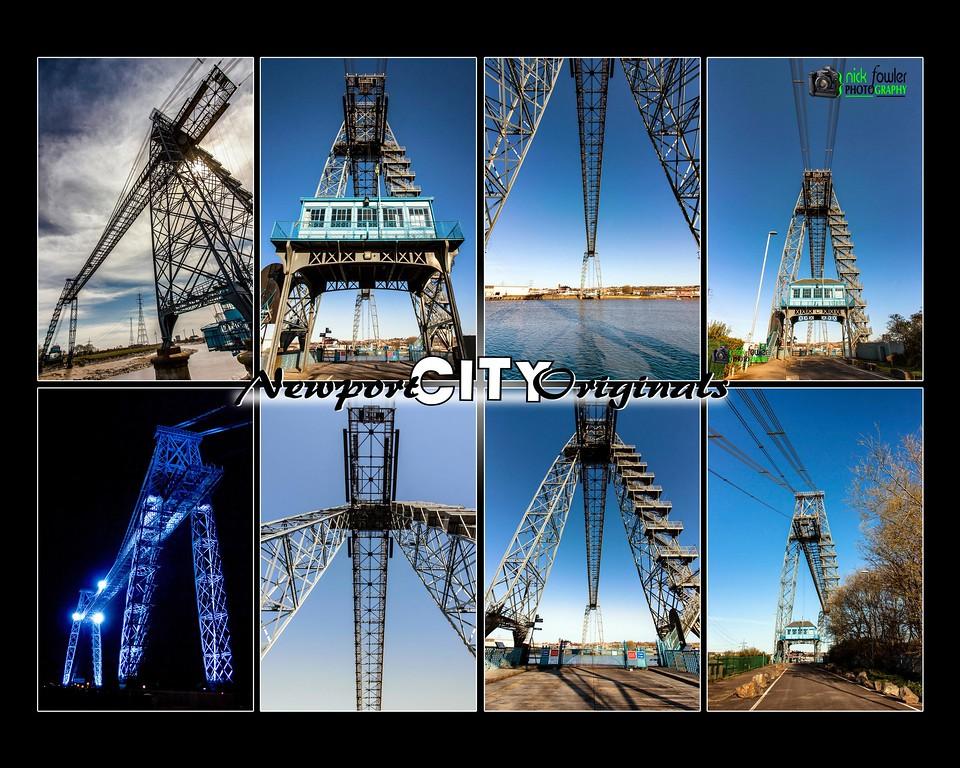 Various views of The Newport Transporter Bridge.