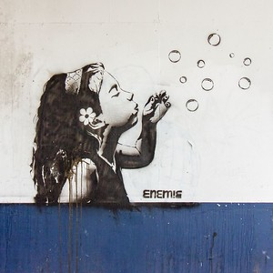Clarence Place, Newport Gwent, Girl Blowing Bubbles by Graffitti artist Justin Lewis