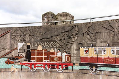 Monmouthshire Railway & Canal Co Mural @ Newport Castle Roundabout
