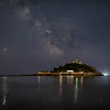 Galactic Core Over a Covid closed st Michaels Mount