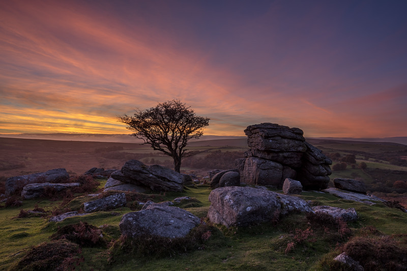 Autumn Sunset at Emsworthy Rock