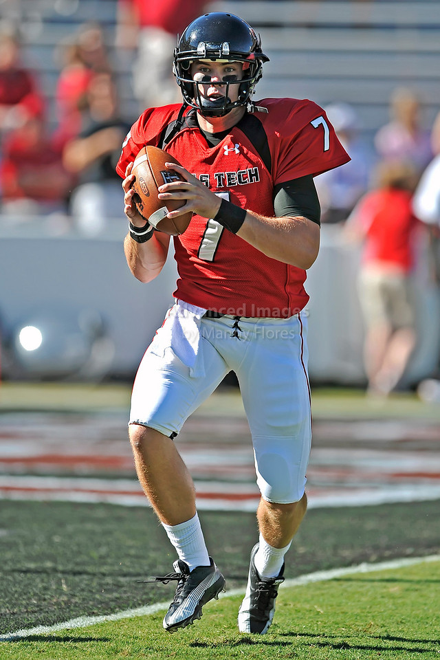 Texas Tech Red Raiders quarterback Seth Doege #7 in action for their game between the Texas Tech Red Raiders and the Baylor Bears at the Cotton Bowl Stadium in Dallas, Texas.  <br /> Texas Tech wins in a shootout 45-38.