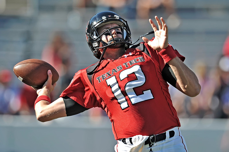 Texas Tech Red Raiders quarterback Taylor Potts #12 in action<br /> during their game between the Texas Tech Red Raiders and the Baylor Bears at the Cotton Bowl Stadium in Dallas, Texas.  <br /> Texas Tech wins in a shootout 45-38.
