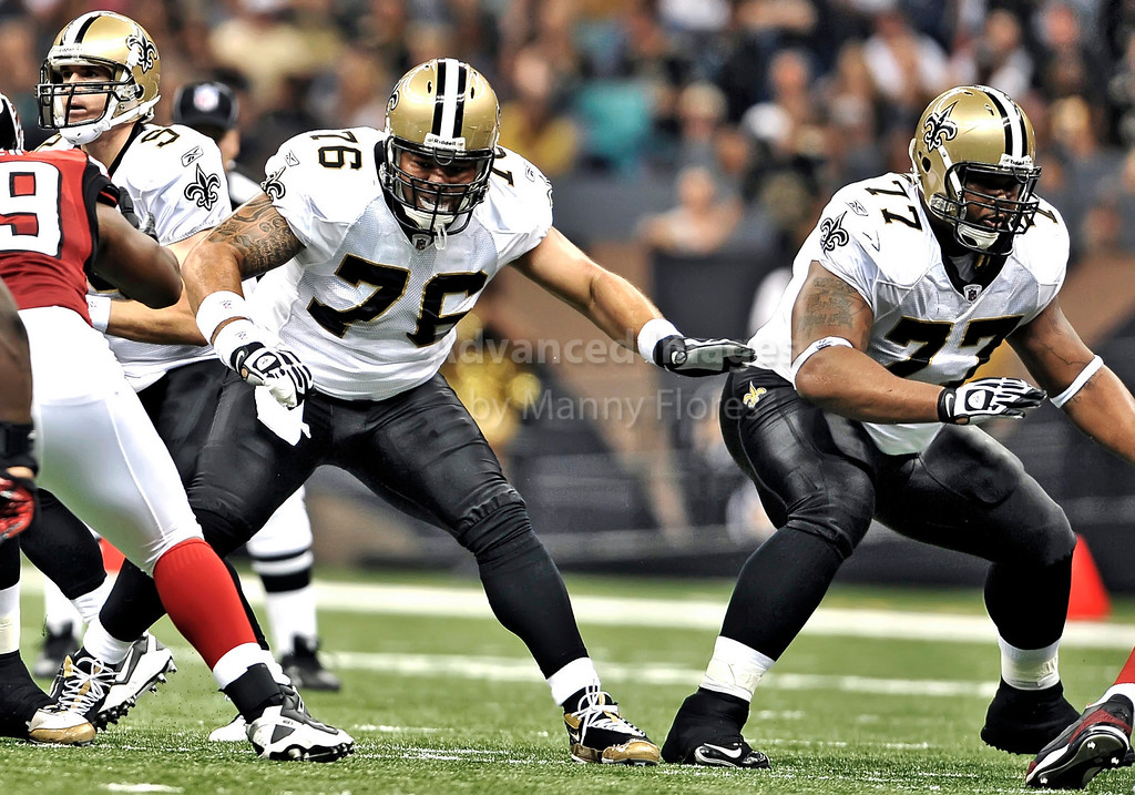 Sept 26 2010:  <br /> New Orleans Saints center Jonathan Goodwin #76 and New Orleans Saints guard Carl Nicks #77 protect the QB<br /> in a game between Atlanta Falcons vs New Orleans Saints at the Superdome in New Orleans, LA. <br /> Atlanta Falcons win in overtime 27-24<br /> (Credit Image: © Manny Flores/Cal Sport Media)
