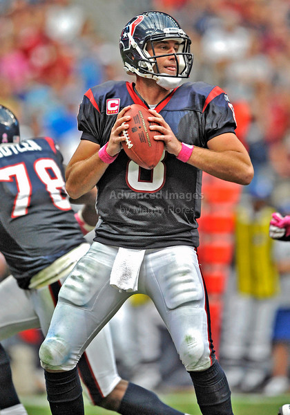 10 Oct 2010:  <br /> Houston Texans quarterback Matt Schaub #8 in action<br /> in a game between the New York Giants and the Houston Texans at Reliant Stadium in Houston Texas.<br /> Giants win 34-10.