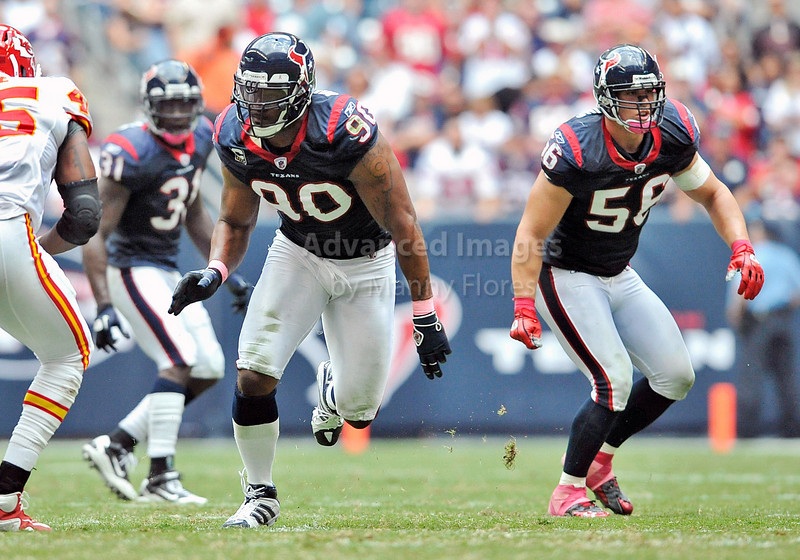 Oct 17 2010:  <br /> Houston Texans defensive end Mario Williams #90 and Houston Texans linebacker Brian Cushing #56 in action<br /> in a game between Kansas City Chiefs and the Houston Texans at Reliant Stadium in Houston, Texas.<br /> Houston wins 35-31<br /> (Credit Image: © Manny Flores/Cal Sport Media)