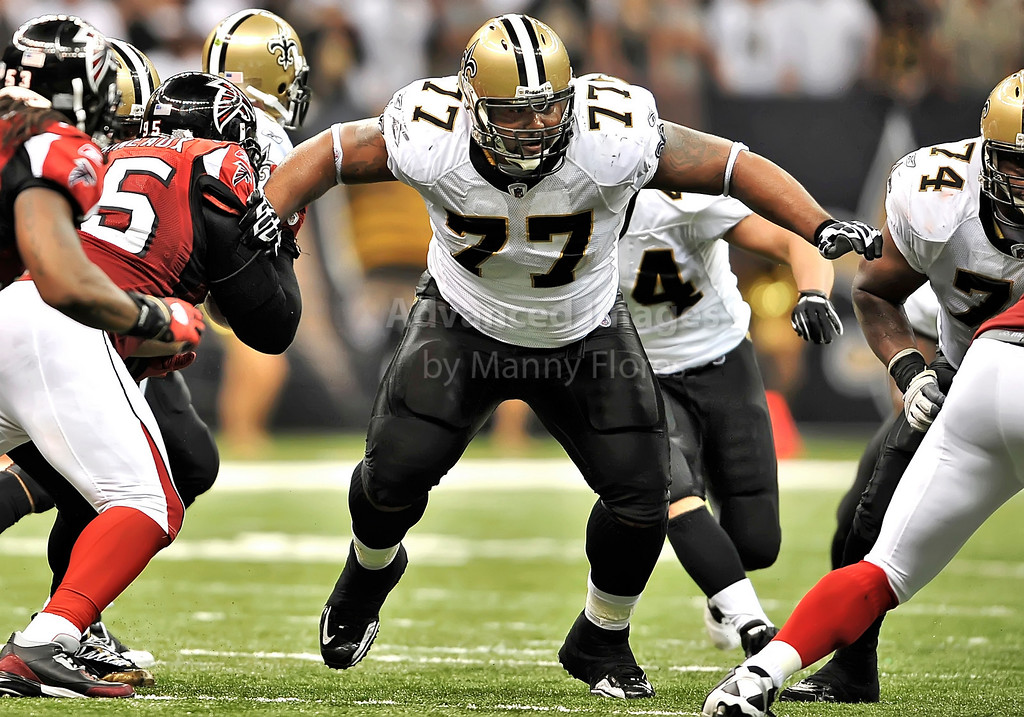 Sept 26 2010:  <br /> New Orleans Saints guard Carl Nicks #77 in action<br /> in a game between Atlanta Falcons vs New Orleans Saints at the Superdome in New Orleans, LA. <br /> Atlanta Falcons win in overtime 27-24<br /> (Credit Image: © Manny Flores/Cal Sport Media)