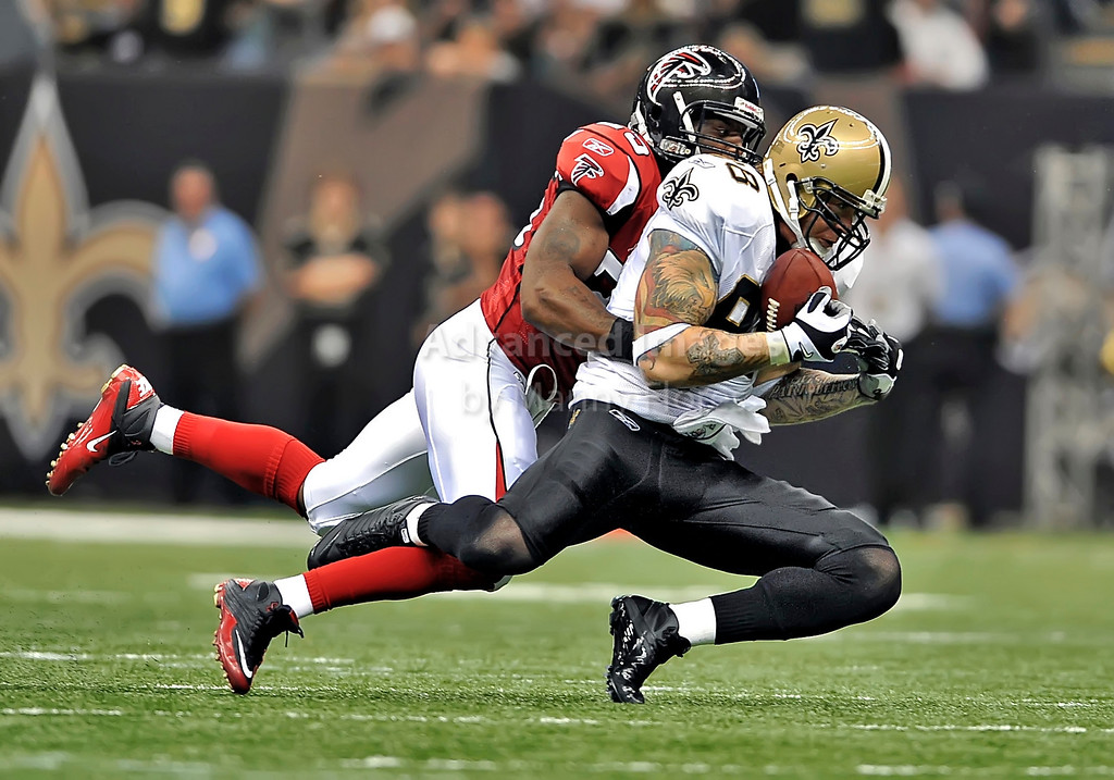 Sept 26 2010:  <br /> New Orleans Saints tight end Jeremy Shockey #88 makes a big play<br /> in a game between Atlanta Falcons vs New Orleans Saints at the Superdome in New Orleans, LA. <br /> Atlanta Falcons win in overtime 27-24<br /> (Credit Image: © Manny Flores/Cal Sport Media)