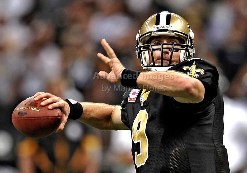 OCT 31 2010:  <br /> New Orleans Saints quarterback Drew Brees #9 in a game between Pittsburgh Steelers and New Orleans Saints at the Louisiana Superdome Stadium in New Orleans, LA.<br />  Saints win 20-10<br /> (Credit Image: © Manny Flores/Cal Sport Media)