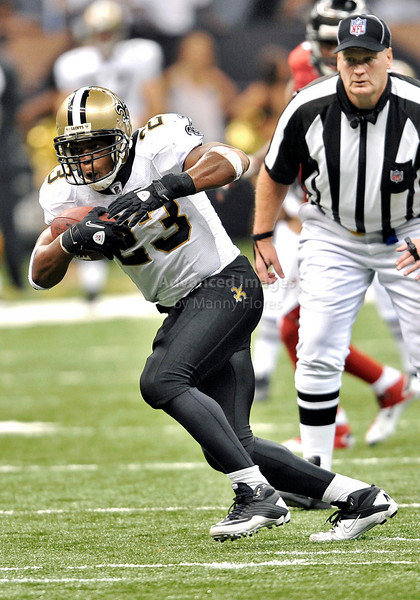 Sept 26 2010:  <br /> New Orleans Saints running back Pierre Thomas #23 gets open<br /> in a game between Atlanta Falcons vs New Orleans Saints at the Superdome in New Orleans, LA. <br /> Atlanta Falcons win in overtime 27-24<br /> (Credit Image: © Manny Flores/Cal Sport Media)