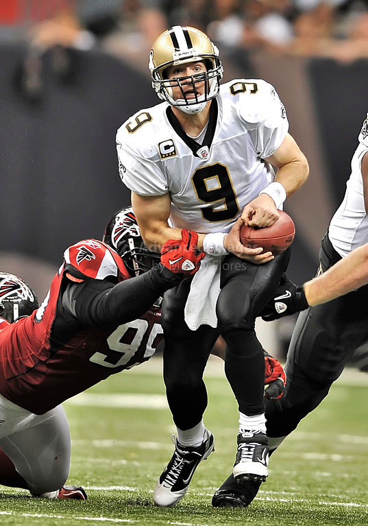 Sept 26 2010:  <br /> New Orleans Saints quarterback Drew Brees #9 is sacked<br /> in a game between Atlanta Falcons vs New Orleans Saints at the Superdome in New Orleans, LA. <br /> Atlanta Falcons win in overtime 27-24<br /> (Credit Image: © Manny Flores/Cal Sport Media)