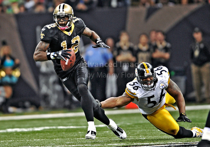 OCT 31 2010:  <br /> New Orleans Saints wide receiver Marques Colston #12 gets by Pittsburgh Steelers linebacker LaMarr Woodley #56 in a game between Pittsburgh Steelers and New Orleans Saints at the Louisiana Superdome Stadium in New Orleans, LA.<br />  Saints win 20-10<br /> (Credit Image: © Manny Flores/Cal Sport Media)