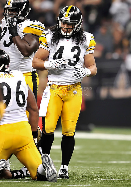 OCT 31 2010:  <br /> Pittsburgh Steelers safety Troy Polamalu #43 in action in a game between Pittsburgh Steelers and New Orleans Saints at the Louisiana Superdome Stadium in New Orleans, LA.<br />  Saints win 20-10<br /> (Credit Image: © Manny Flores/Cal Sport Media)
