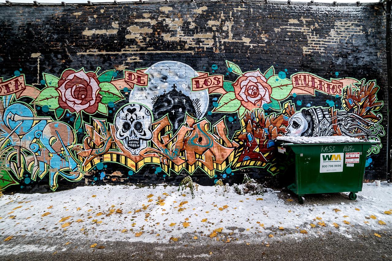 Snow art and trash