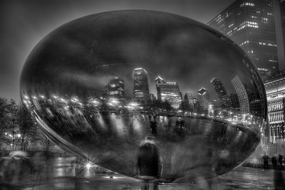 wet cloudgate at night